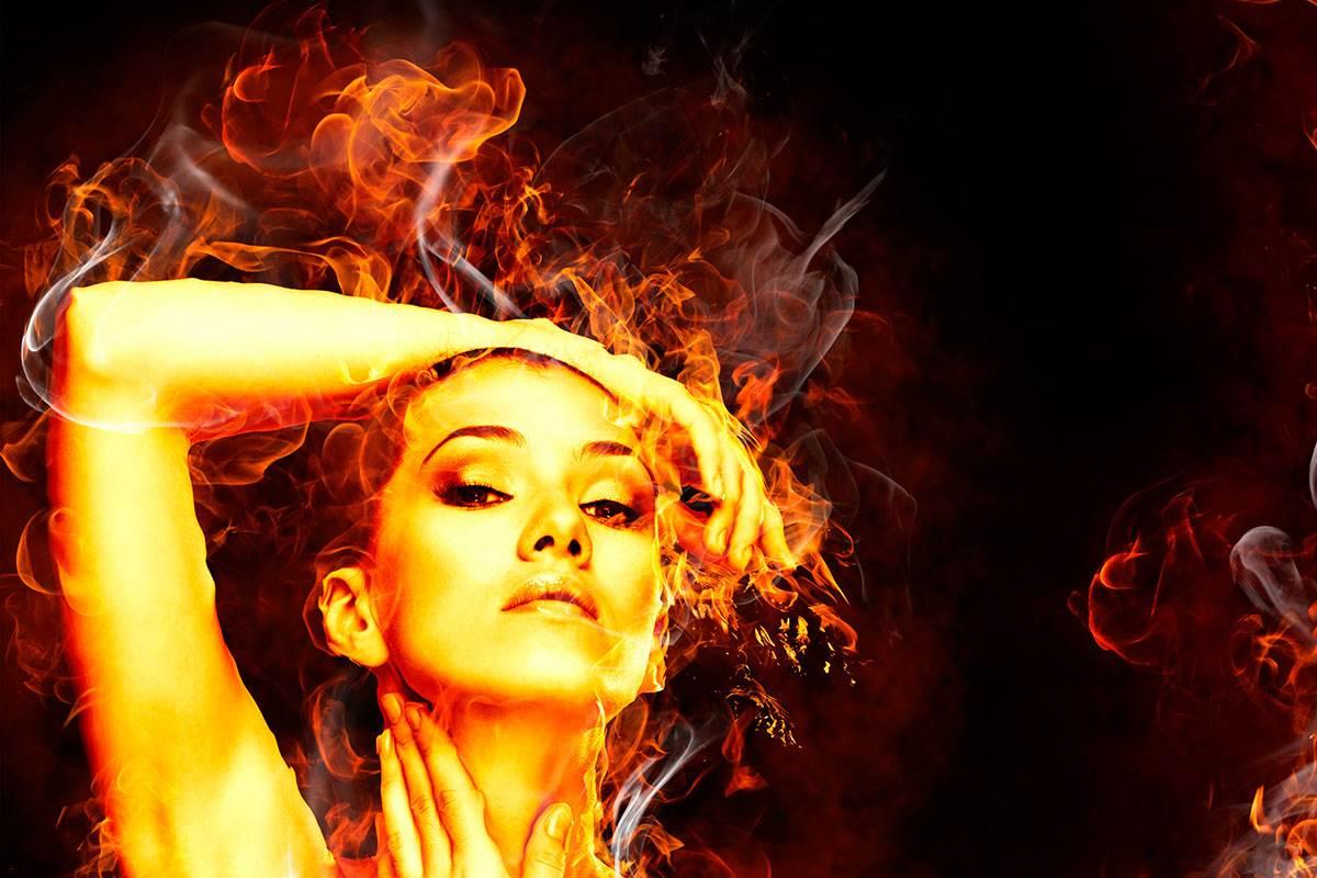 женщина огонь
